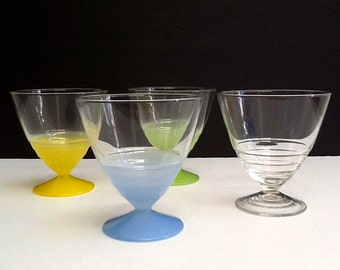 Arcoroc Beehive Sundae Glasses, Set of 4, Colorful Parfait Glasses, Footed Dessert Cups, Made in France, Retro Serving