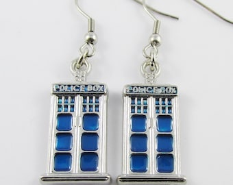 Inspired by Dr Who Tardis Charm Hook Earrings 50mm Stainless Steel Hooks