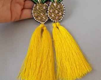 Yellow Tassel Pineapple Statement Earrings