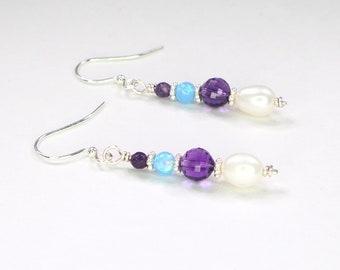 Opal/Amethyst Dangle Earrings (Perfect for Springtime!)