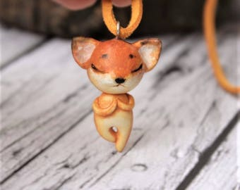 Fox Necklace, Cute tiny Fox Jewelry, Animal yoga gift, Charm polymer clay, Little Fox pose of a tree, animals pendant, handmade jewellery