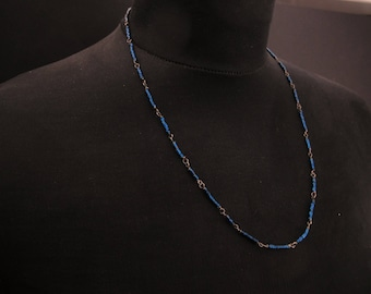 Organico- Sterling silver and Hematite - Wire wrapped Chain Beaded chain with handmade clasp - Everyday jewelry  - Gift for her
