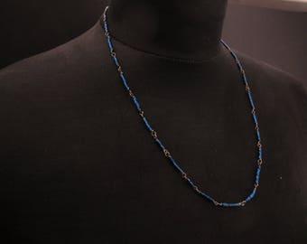 Organico-Sterling Silber und Hämatit - Draht umwickelt Kette Perlen Kette mit handgefertigten Verschluss - Alltag Schmuck - Geschenk für Sie