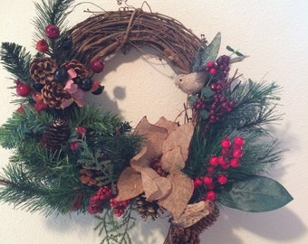 12 IN grapevine holiday wreath, front door decor, burlap and berries, Christmas wreath, holiday decor,
