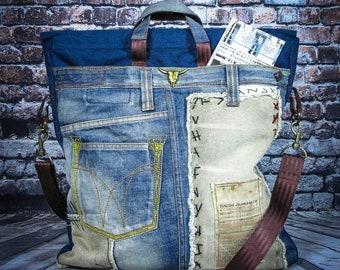 Shoulder bag, Cross body bag, Denim bag, mens bag, womens bag, large denim bag, handmade unique bag, Designer bag, fashion bag, City bag,
