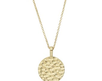 14K Gold Disc Necklace, Solid Gold Textured Disc, Hammered Disc Necklace, gift for her, gift for him, made to order in 7-10 days