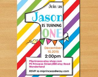 Rainbow Birthday party, first birthday, 2nd birthday, 3rd birthday, 4th birthday, 5th birthday, 6th birthday, 7th birthday,  card 613