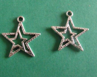 set of 2 silver charms star 22mmx20mm
