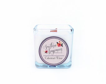 Cabernet Wine Soy Candle | 12oz Soy Candle | Wood Wick Candle