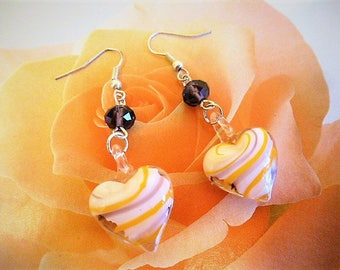 Earrings heart lampwork glass in the tradition of glass Murano 6 cm