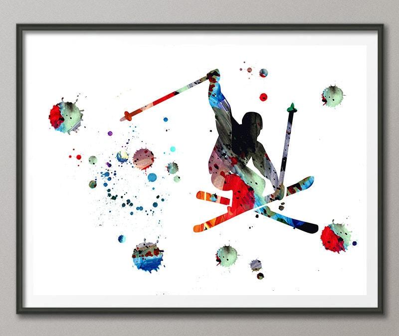 freeride skifahrer aquarell druck sprungschanze plakat abfahrt. Black Bedroom Furniture Sets. Home Design Ideas