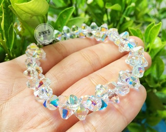 Handmade Swarovski Bracelet with Top-Drilled crystal beads,wedding gift,crystal ab, aurora borealis,bridemaid bridal,rainbow color,jewelry