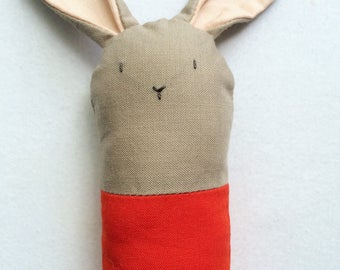 Brown and Red Bunny Rattle - Soft Baby Toy