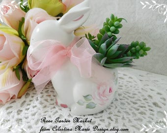 Little Ceramic Bunny Faux Succulent Planter, Hand Painted with Cottage Roses, Spring Accent, Cottage Decor, Easter, ECS
