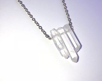 Quartz crystal necklace.