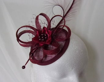 Burgundy Marsala Fascinator Wine Carmine Pheasant Curl Feather Sinamay & Pearl Wedding Fascinator Mini Hat - Custom Made to Order