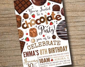 PRINTABLE Chocolate Party Invitation, Chocolate Desserts Birthday Invitations, Dessert Party, Chocolate Desserts Sweets Invite (Printable)
