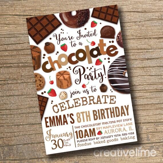 Printable Chocolate Party Invitation Chocolate Desserts