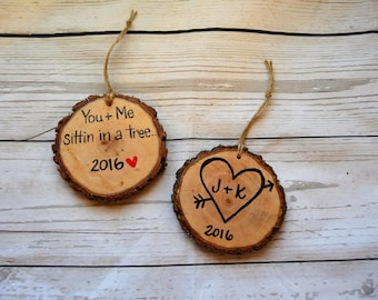 Wood Slice Christmas Ornaments , Valentines Day Gift , Personalized Couple Initials , You and me Sitting in a tree, 5th Anniversary Heart