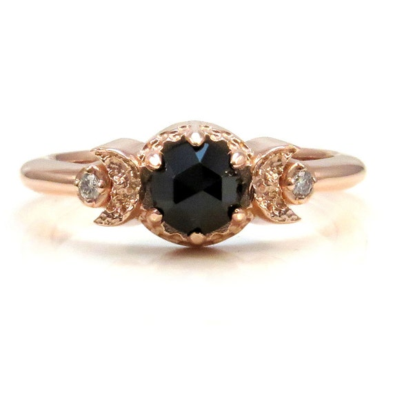 Rose Gold Crescent Moon Ring - Black Diamond or Spinel and White Diamond Engagement Ring