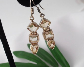 Citrine Earrings in Sterling Silver Hallmarked 925 Contemporary Design
