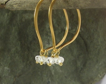 Gemstone Hoops, Quartz Crystal Gold Vermeil, Cluster Earrings, Medium Size, Everyday Hoop Earrings