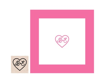 Mini Heart with Initials rubber stamp