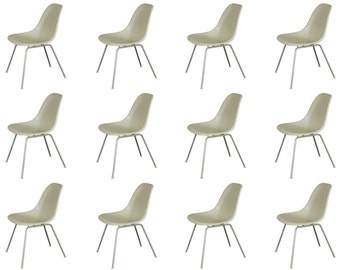 1990s White Eames Shell Chairs