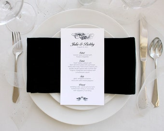 Beautiful Wedding Menu Skinny Simple Black and White Romantic Party