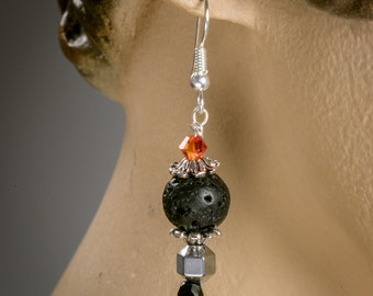 Lava Stone earrings with Swarovski crystals and Czech beads