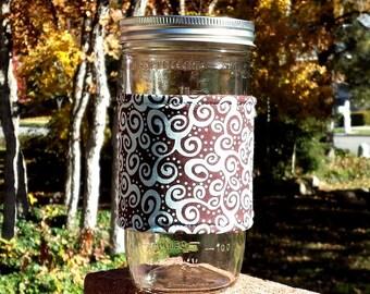 FREE SHIPPING UPGRADE with minimum -  Mason Jar cozy / mason jar sleeve / fabric jar cozy - Aqua Swirls