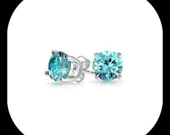 December Birthstone Silver CZ Stud Earrings, Bridesmaids Gifts, Blue Zircon Earrings, Sterling Silver Stud Earrings,