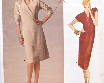 Geoffrey Beene Vogue 1670 American Designer Sewing Pattern 1980s Misses' Straight Dress Shaped Bodice Vintage Dress UNCUT FF Sizes 12