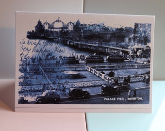 Brighton Palace Pier, Aquarium, Seafront, Madeira Drive, Sussex Art, Vintage Writing, British Seaside, Old Postcards, Stamps, Greeting Card