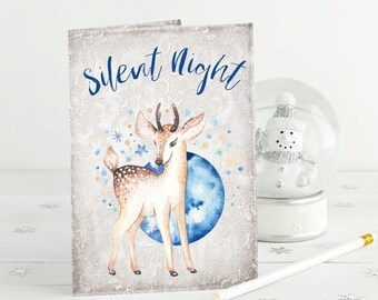 Silent Night Card - Deer Christmas Card - Seasons Greetings - Cute Baby Deer - Friend - Sister - Card for Her - Winter Floral - Animal Card