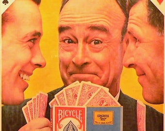 1958 Bicycle Cards Ad Matted Vintage Print
