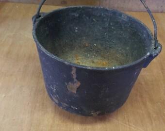 Vintage Cast Iron Pot Primitive Bucket Rusty Witch's Caldron Prop Halloween