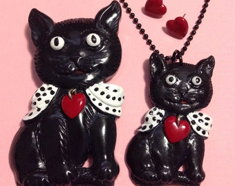 Black Retro Cat Brooch Necklace Earrings Set - Kitty Kitten Bow Polka Dot - Vintage Inspired - Handpainted Hand Cast Resin - Novelty Pin Kit