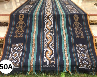 Ikat #50A (2 yards handwoven terracotta, black and teal Indonesian ikat throw blanket, boho, tribal fabric) fabric)