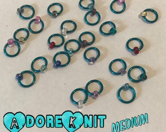 Design YOUR OWN Ring Stitch Markers, ring markers, notions, Turquoise Stitch markers, knitting, gift, bracelet, necklace,stitchmarkers