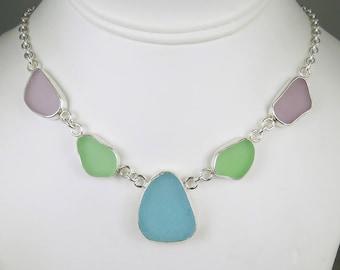 Pastel Sea Glass Bezel Necklace Pendant Aqua Seafoam Green Lavender Maine