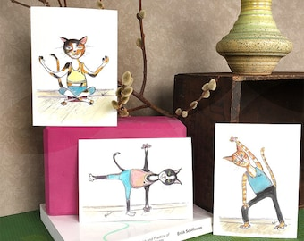 Set of 3 - Yoga Cats Print Set - Yoga Cat Watercolor Painting - 5x7 Watercolor PRINTS - Yoga Gift - Gift for Cat Lover
