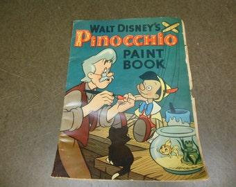 1939 Walt Disney's Pinocchio Paint Book Vintage Coloring Book - Shabby Chic Children's Decor