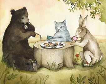 "Cat, Bear, Rabbit ""Tea Party"", children, cat, bear, rabbit art"