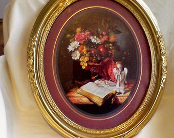 Home Interior Oval Picture, Gold Frame, Wall Decor 18x15 inches made in the USA