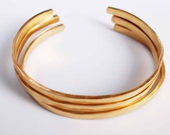 Hammered Bronze Bracelets, 8th Anniversary Gift, Cuff Bangles, Anniversary Bracelet, Matte Gold Cuffs, Bonze Anniversary