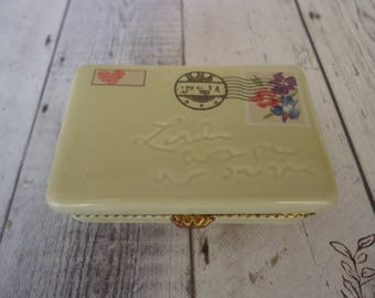"Vintage Porcelain Hallmark Envelope Trinket Box, 2 3/4"" X 1 3/4"", Pill Box"
