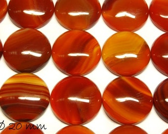 2 PCs cabochons, red agate, 20 mm