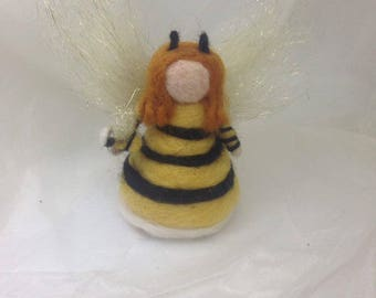 Bumble Bee Girl Wool Waldorf Doll Handmade Needle Felted Soft Toy Ornament Decoration Summer Fairy Cute Yellow Blonde Honey Bees Unique Gift