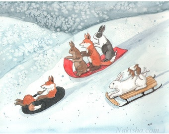 Reserved - Original Watercolor Rabbit Painting - Going Downhill